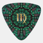 Zodiac Sign Virgo Green Mandala Guitar Pick