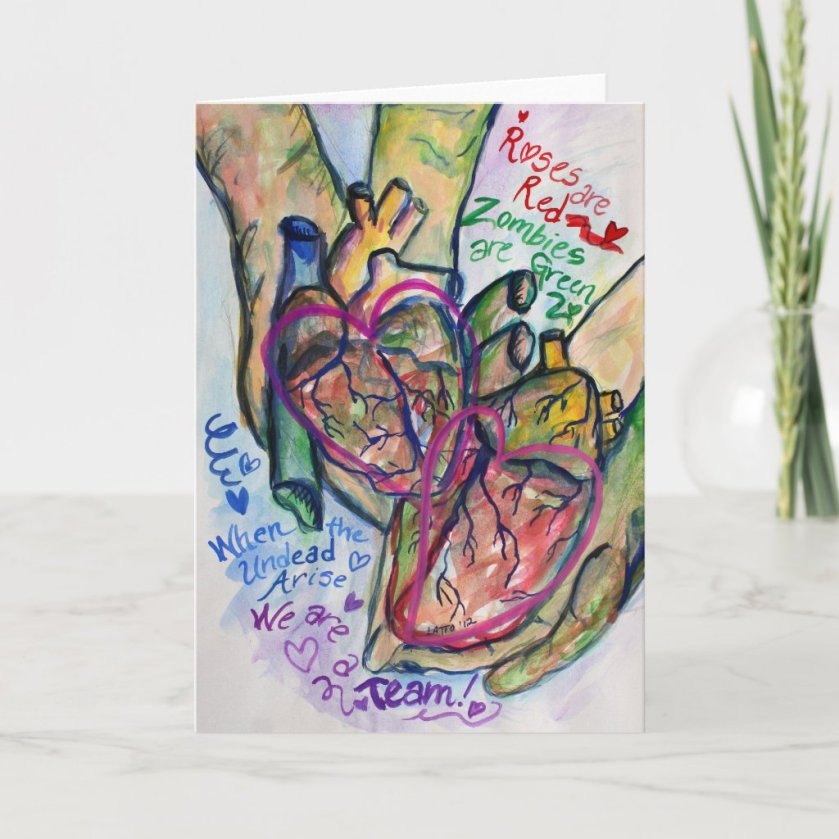 Zombie Love Poem Greeting or Note Art Cards