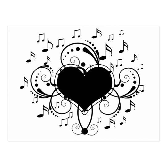 carte postale j aime les notes de musique coeur noir et blanc