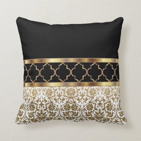 coussin modele quatrefoil et damas blanc noir et or