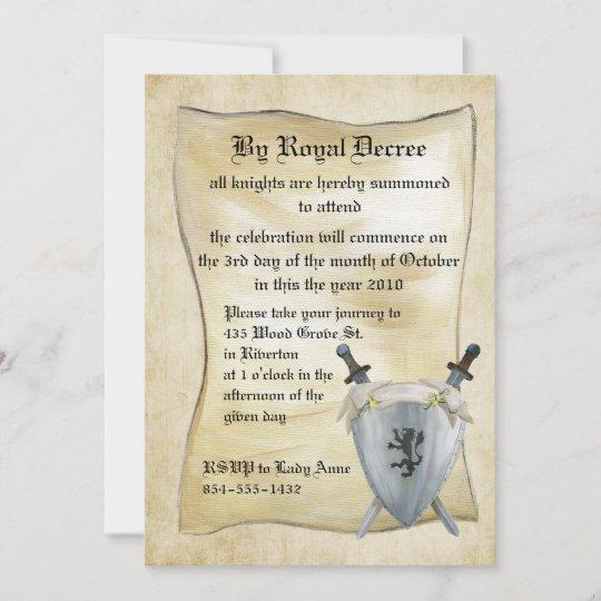 invitation medievale d anniversaire de chevalier