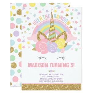 rainbow unicorn invitation anniversaire
