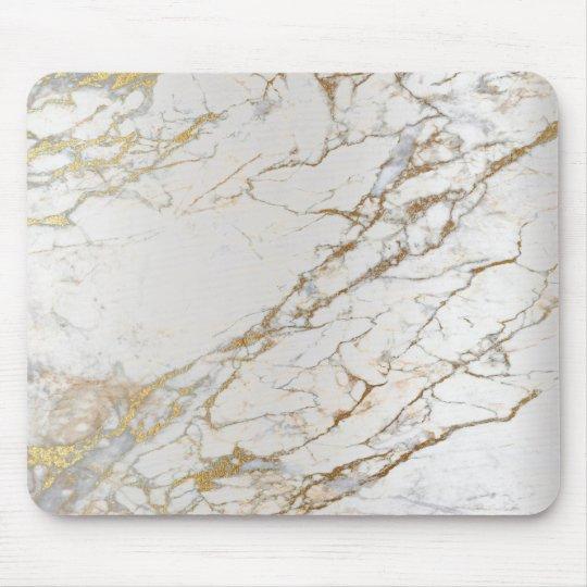 tapis de souris blanc gris d or argente abstrait de marbre unique