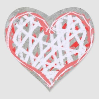 Hart in Rood, Wit en Grijs zazzle_sticker