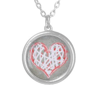 Heart Pendant in Red, Grey and White zazzle_necklace