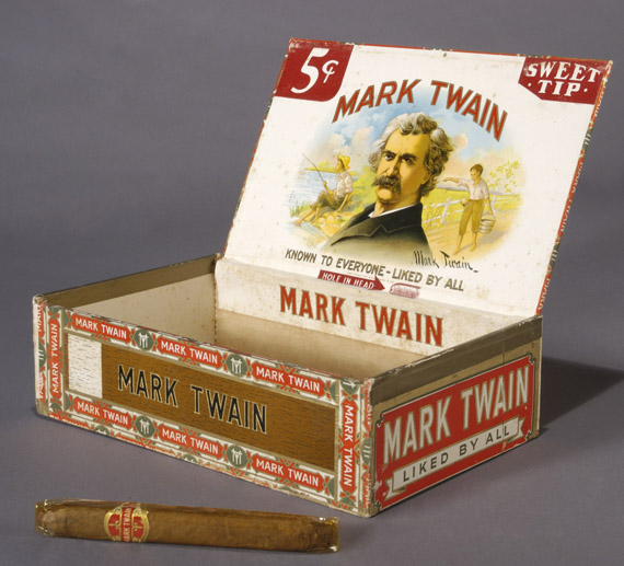 "From the Cornell Library exhibit:  Mark Twain Cigar box. Pennsylvania: Wolf Bros., ca. 1913-1930.  Cigar manufacturers have long capitalized on the public association of Mark Twain with cigars. While various brands of ""Mark Twain Cigars"" had been marketed since the 1870s, the Wolf Brothers did not register their trademark until 1931. The box is emblazoned with a phrase—""Known to Everyone - Liked by All""—which was written by Mark Twain. Curiously, the word ""cigars"" is absent from the box, emphasizing that it was Mark Twain, and not necessarily a tobacco product, that was ""Liked by All.""  From the collection of Susan Jaffe Tane"