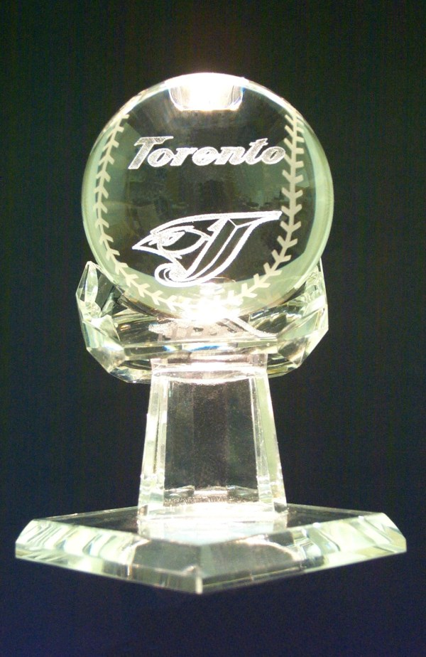 G1-506 - Baseball and Glove Crystal 2 pc.(Blue Jays)-0