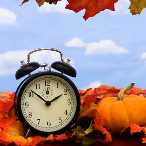 Fall coloured leaves with a black clock on a sky background, Fall Leaves