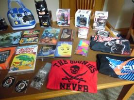 Batman mug, comic books, etc.