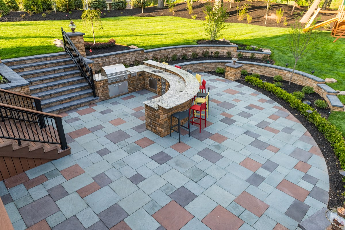 blue red paving stones by rms home remodeling company edison nj