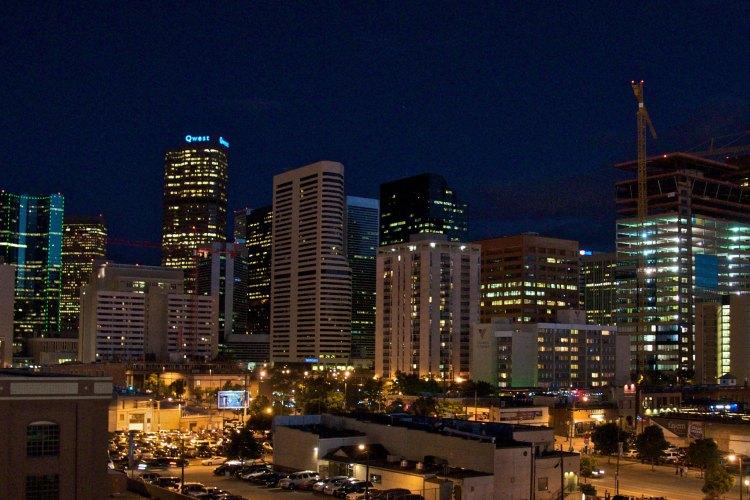 Denver cityscape at night