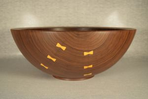 Pat Scott - Walnut Bowl with Osage Orange Butterflies