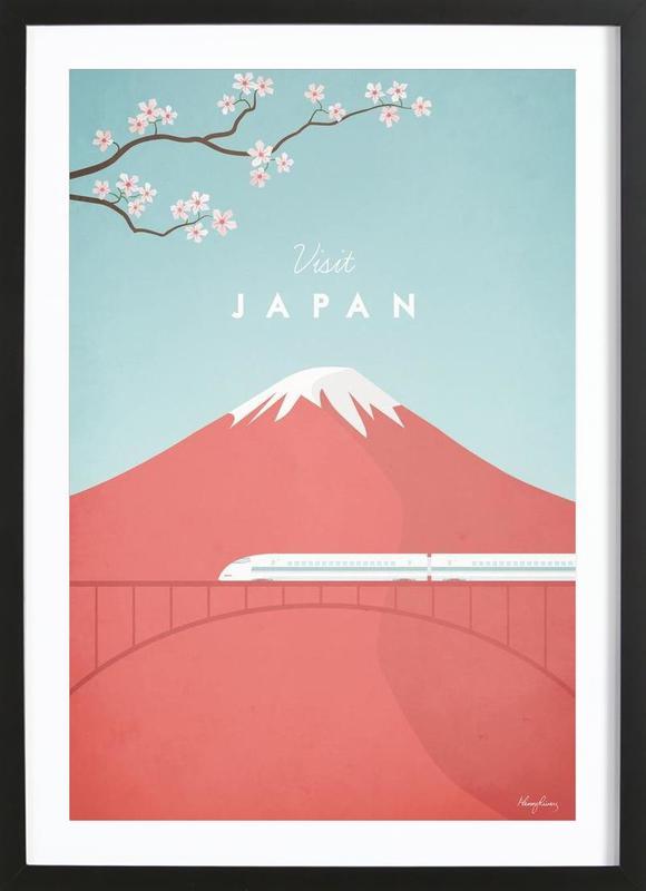 Japan En Affiche Sous Cadre En Bois Par Henry Rivers JUNIQE