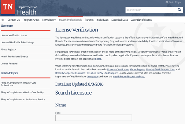 """RN License Verification TN"""