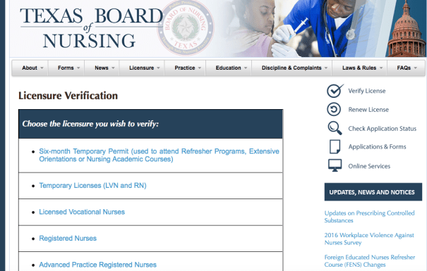 RN License Lookup Texas