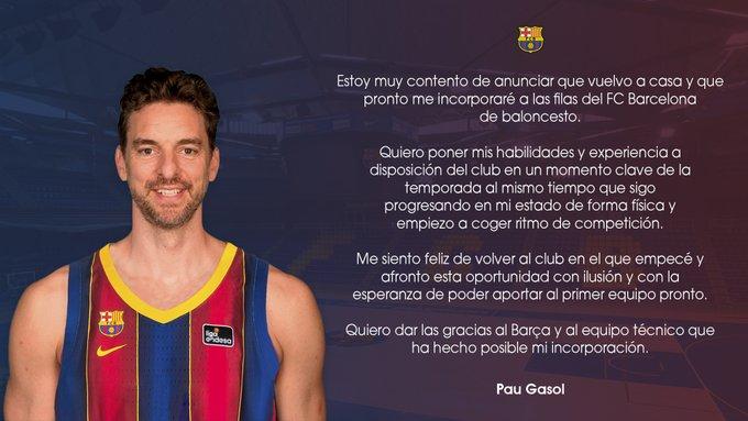 El español Pau Gasol anuncia su regreso a la liga española. (FUENTE: Twitter/Pau Gasol)
