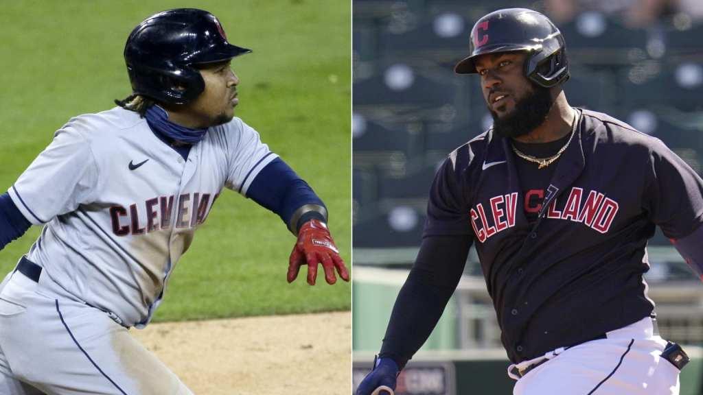 José Ramírez y Franmil Reyes, de los Indios de Cleveland. (Foto: MLB.com)
