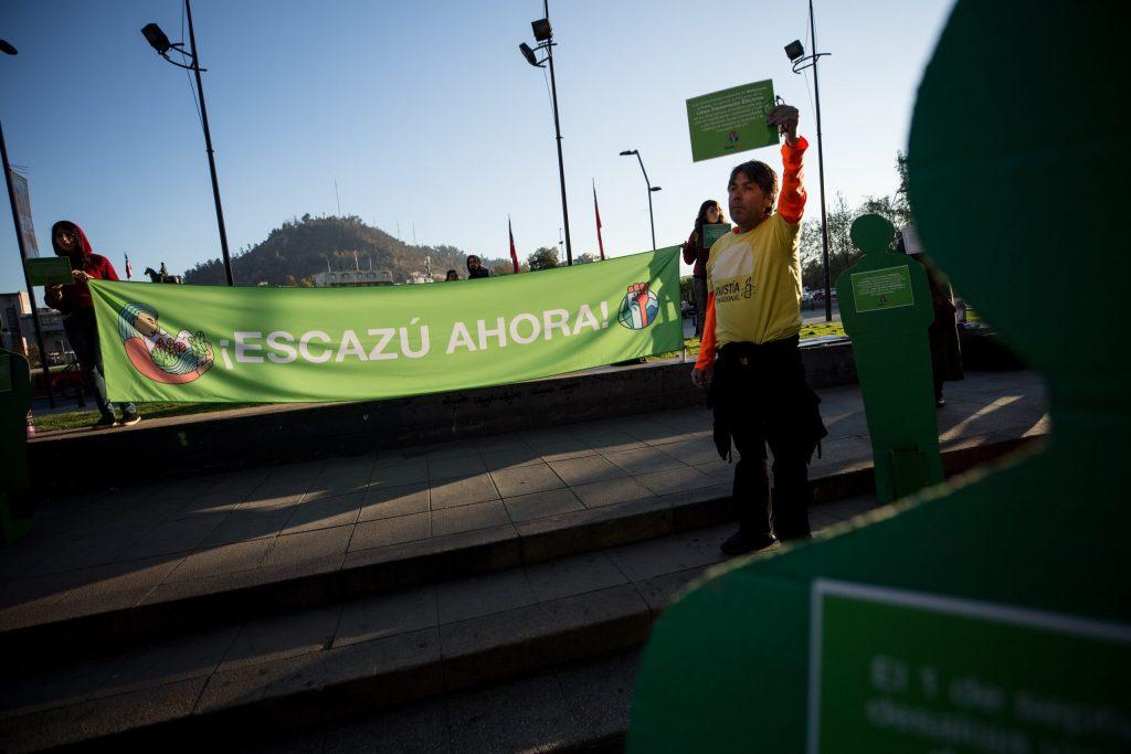 Activistas de organizaciones ambientalistas y de defensa de derechos humanos realizan una intervención en el centro de Santiago. EFE/Alberto Valdes/ Archivo