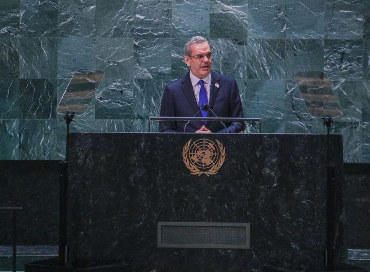 El presidente Luis Abinader durante su intervención en la 76 Asamblea General de las Naciones Unidas.