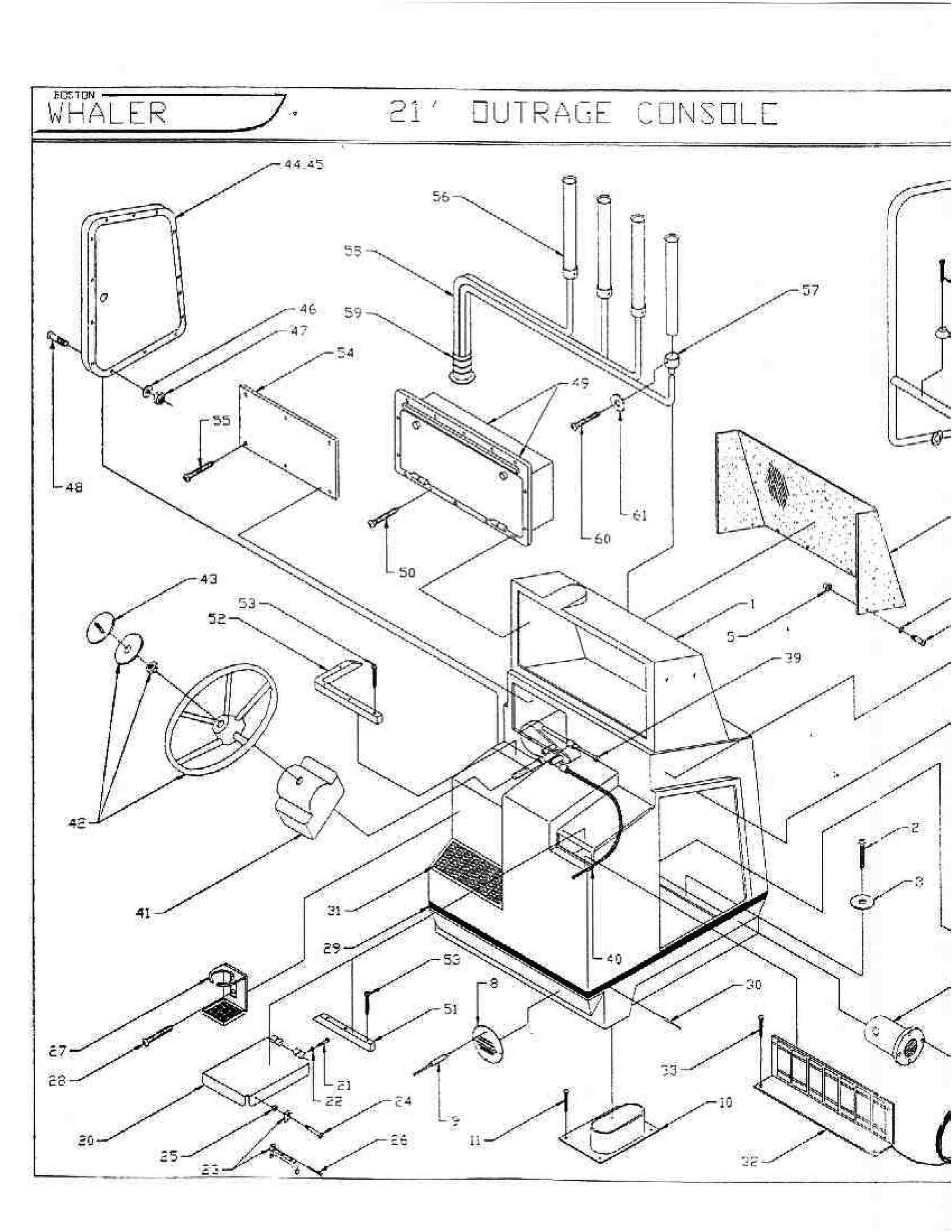 Boston Whaler 21 Outrage Console Exploded Drawing