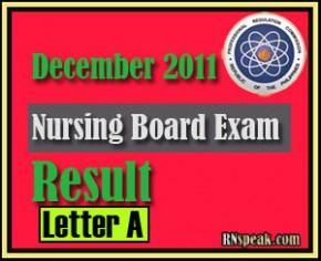 Letter A -Passer of  December 2011 Nursing Board Exam