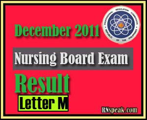 Letter M December 2011 Nursing Board Exam