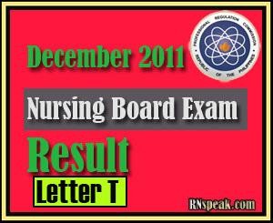 Letter T December 2011 Nursing Board Exam