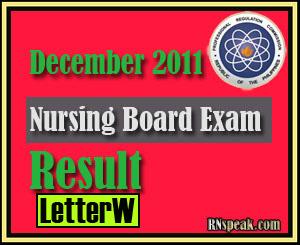 Letter W December 2011 Nursing Board Exam