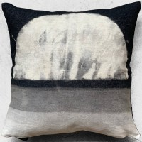 "16""X16"" throw pillow is one of a kind hand crafted and painted on recycled black denim with pop color zipper."