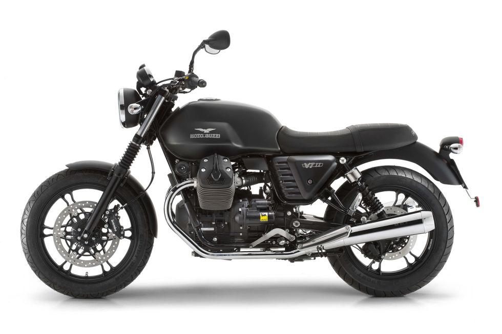 """Base Price: $9000Last year Guzzi upgraded the V7 enough to warrant the """"II"""" at the end of its name. What you get in this new V7 is a roomier ride, thanks to a half-inch lower seat and an engine pushed forward in the chassis.Speaking of the engine, there's a new 750 cc, air-cooled V-Twin linked to a six-speed transmission replacing the old five. And this is no high-strung sportbike powertrain. So here's a bike that always relies on torque and gearing to get riders up to speed rather than top end horsepower. The V7 is no sportbike but that marvelous V-Twin certainly sounds sweet, and The V7 Stone might have a foothold in the past, but it's actually loaded with tech. Guzzi includes ABS as well as traction control as standard equipment, which turns this good deal into a great one."""