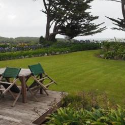 Gartensitzplatz und Blick zur Tasman Sea