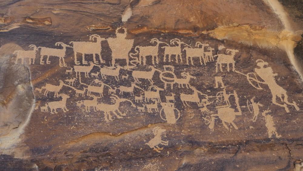 The Great Hunt Petroglyphen Panel im Nine Mile Canyon