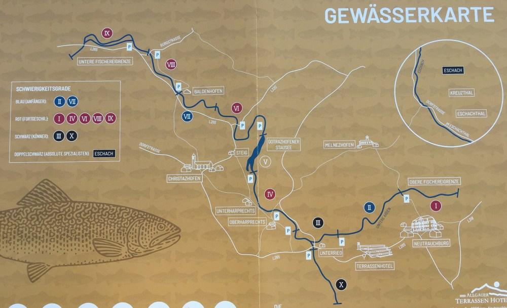 Gewässerkarte Fliegenfischen in Isny im Allgäu