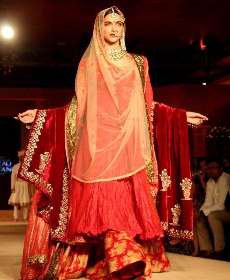 double dupatta drape style for brides