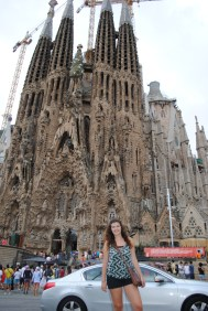 Posing outside of La Sagrada Familia
