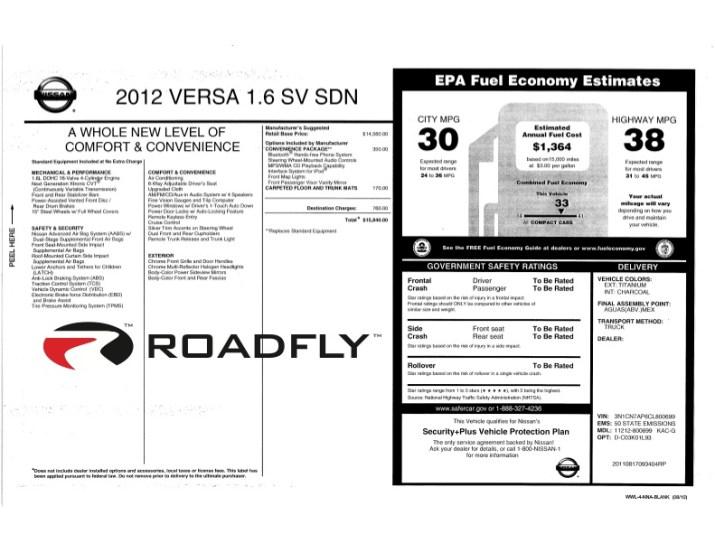 2012 Nissan Versa window sticker image