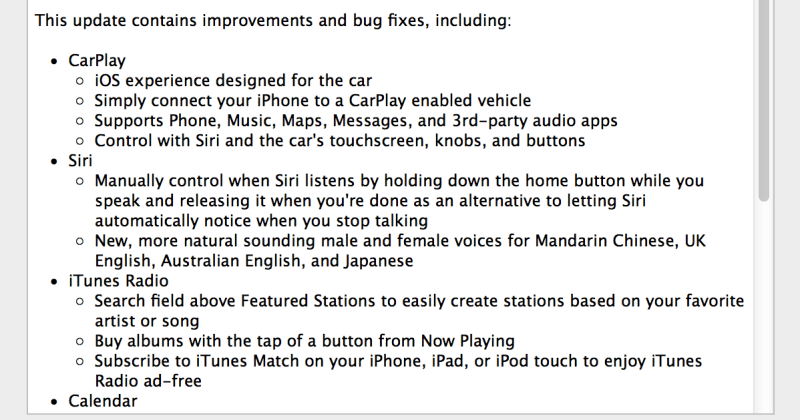 Apple iOS 7.1 CarPlay Update