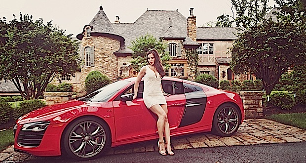 Model Stephanie Cole with Audi R8