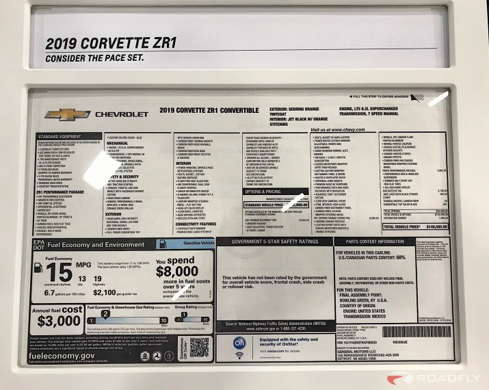 2019 Chevrolet Corvette ZR1 Convertible Monroney Window Sticker Price