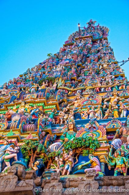 The ornate carvings which is classic of the south Indian style temples.