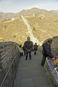 Standing on the Great Wall of China. Beijing, China.