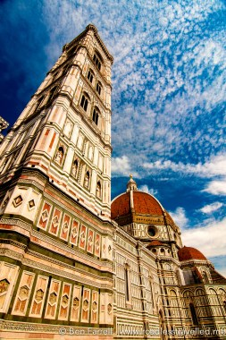 The giant bell tower of Il Duomo reaches for the sky. Florence, Italy.