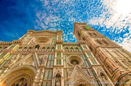 The elaborate facade of il Duomo in Florence, Italy.