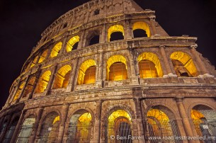 The Colosseum lit up at night. Rome, Italy