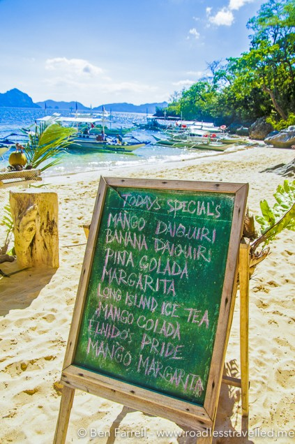The menu of cocktails available at the beach blender bar.