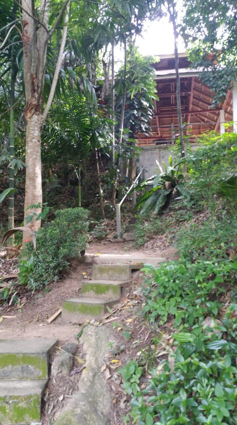 Stairs up to one of the outdoor 'salas' that can be used for meditation during free-time.