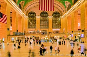 Grand Central Terminal is a buzz of people in New York, USA.
