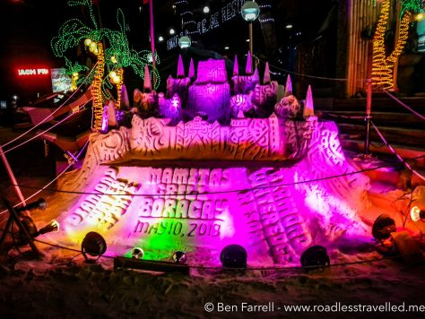 One of the many elaborate sand sculptures that line Boracay beach.