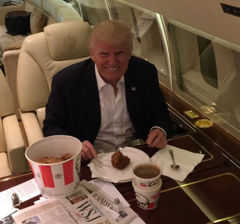 Trump enjoying KFC in his private jet. Courtesy Twitter - @realDonalTrump
