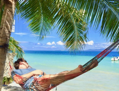 Relaxing in my hammock at Bamboo House Resort